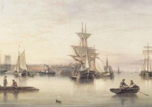 Henry Redmore Hull From The Humber Yorkshire Ships Victorian Painting Postcard