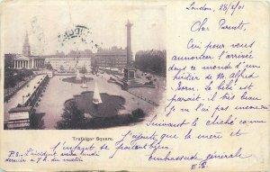 Postcard England London early 1900's signed Trafalgar Square