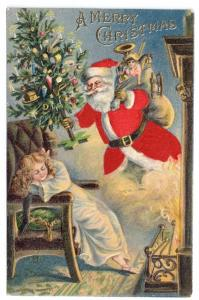 Silk Santa Postcard Christmas Red Robe Sleeping Girl Toys