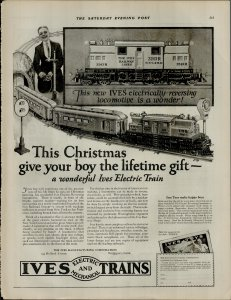 1924 Ives Toy Trains Christmas Gift For Boy Vintage Print Ad 3941