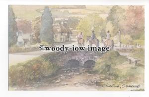 DS400 - Somerset - Horses on a Winsford Bridge, Artist- David Skipp - Postcard