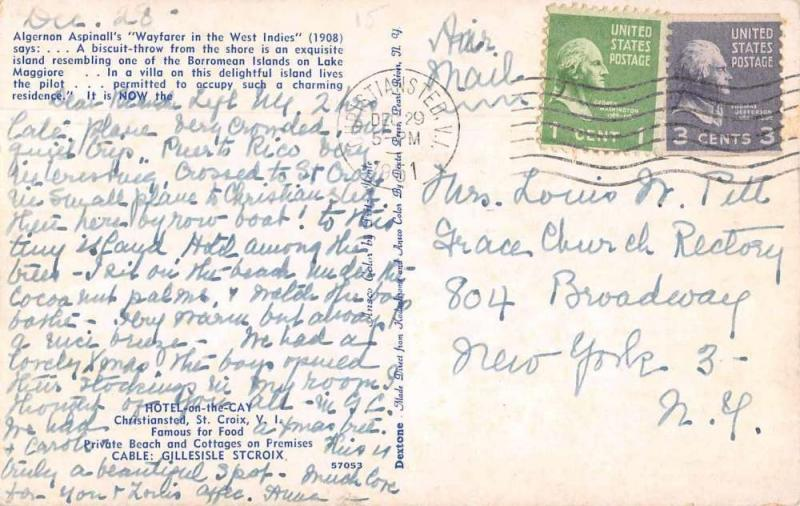 Christiansted St Croix Virgin Islands Hotel on the Cay Sailing Postcard J76252