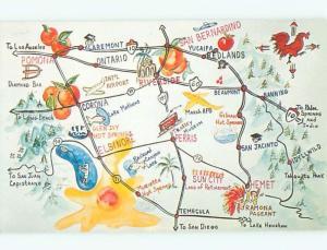 1983 Road Map - Elsinore Pomona & Riverside & Hemet & San Bernardino CA W5458