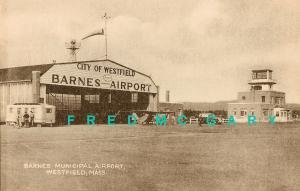 1939 Westfield Massachusetts Collotype Postcard: Barnes Municipal Airport