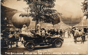 Balloon Race North Adams MA People Horses Car c1908 RPPC Postcard E75 *as is