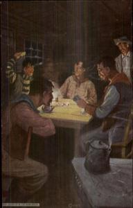 Cowboys in the Bunk House Playing Poker Kettle on Stove c1910 Postcard