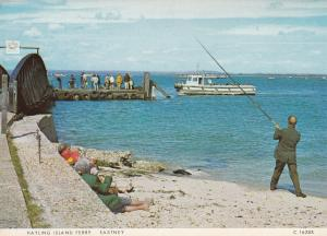 OAP Fishing Others Watching Him At Hayling Island Ferry Eastney Postcard