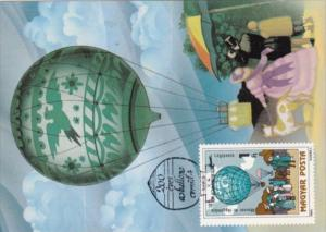 Hot Air Balloon Hungary Stamps On Postcards