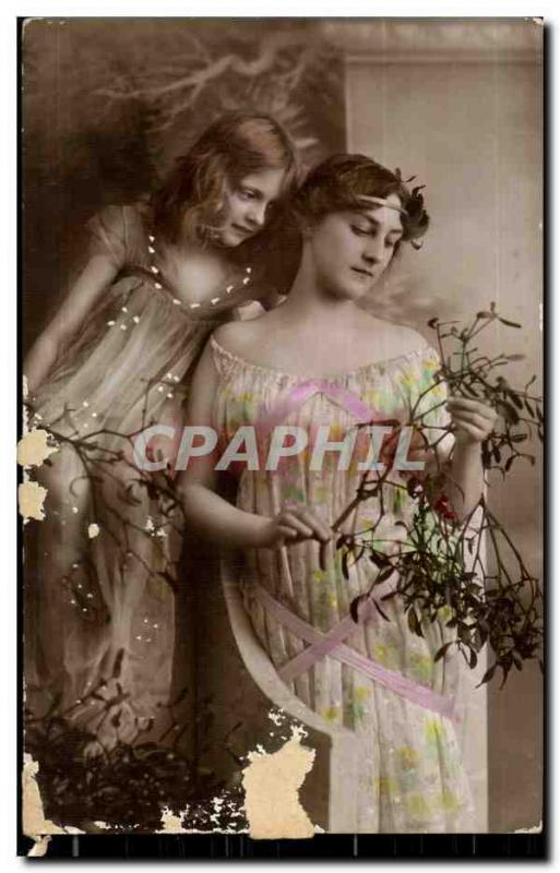 Fantaisie - Femme - Beautiful Mother and daughter (carte hongroise Hungary Hongr
