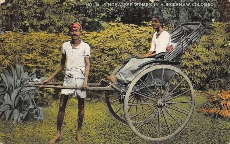 Ceylon Sri Lanka Native Singhalese Woman in a Rickshaw Colombo The Coop Ltd