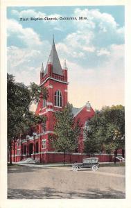 D91/ Columbus Mississippi Postcard c1910 First Baptist Church Building