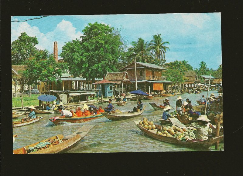 Thailand Bangkok Floating Market (Wat Sai) 1960's Color Postcard Unposted