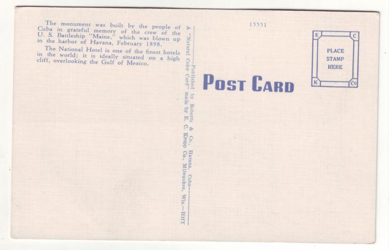 P438 JL old linen postcard park national hotel havana cuba