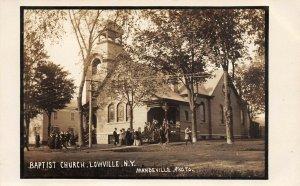 LP25 Baptist Church Lowville New York Vintage Postcard RPPC Mandeville