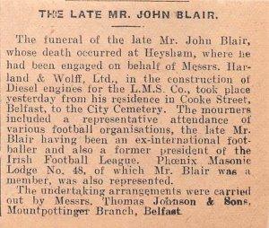 1934 Belfast Newspaper Clipping FUNERAL MR JOHN BLAIR, HARLAND & WOLFF BELFAST