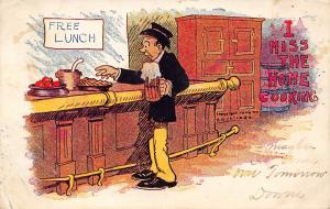 Comic Pun~I Miss the Home Cooking~Man at Bar~Foaming Beer Mug~Free Lunch~1906 PC