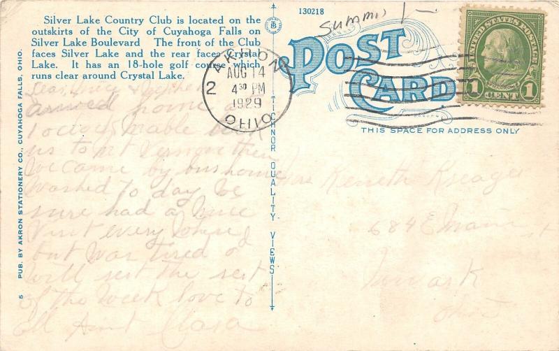 F27/ Cuyahoga Falls Ohio Postcard 1929 Silver Lake Country Club