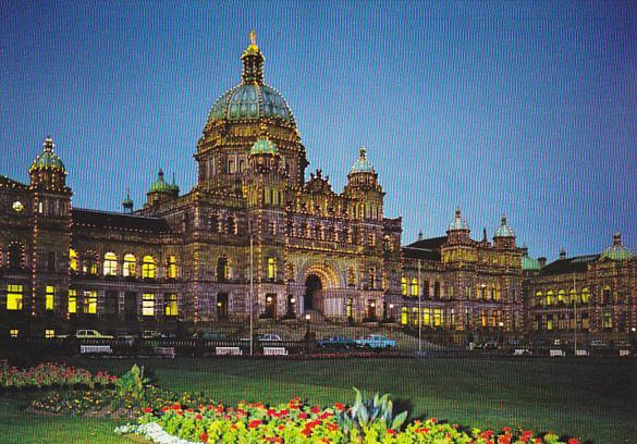 Canada Parliament Buildings At Dusk Victoria British Columbia