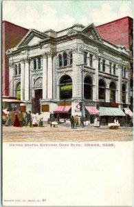 1900s Omaha, Nebraska Postcard United States National Bank Bldg. Street View