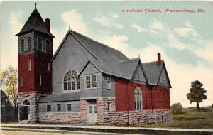 C19/ Warrensburg Missouri Mo Postcard c1910 Christian Church Building