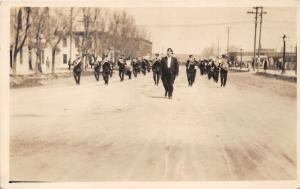 Rapid City South Dakota~Military Marching Band in Parade~c1910 RPPC Postcard