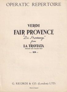 Fair Provence La Traviata Verdi Olde Sheet Music