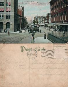 WASHINGTON D.C. F STREET NW ANTIQUE 1908 POSTCARD