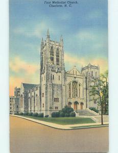 Unused Linen CHURCH SCENE Charlotte North Carolina NC L4446