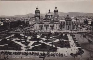 RP; Aerial View, Zocalo y Catedral, Mexico, 10-20s