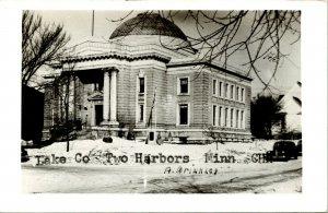 Vtg Postcard RPPC 1940s Lake County Courthouse - Two Harbors Minnesota MN