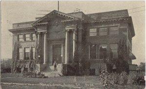 AURORA IL - Carnegie Public Library 1910 view / 1 E Benton St / STILL THERE