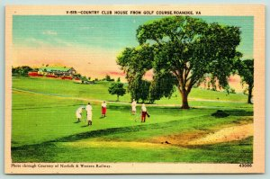 Roanoke Virginia~Golf Course~Golfers Putt on Green~Country Club House~1940s