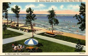 Ohio Camp Perry Bathing Beach and Pier On Lake Erie Curteich