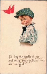 Boy in Cap, Hearts, I'd Lay the Earth at Her Feet c1921 Vintage Postcard Y09