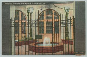 New Orleans Louisiana~Courtyard State Museum Building~1940s Linen Postcard