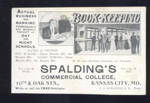KANSAS CITY MISSOURI SPALDING'S COMMERCIAL COLLEGE OLD ADVERTISING POSTCARD