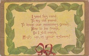 Fred Cavally Deluxe Series I send this card To my old pard 1908