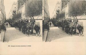 Stereographic view military cavalry lancers dragons waiting for the parade