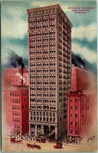Chicago, Illinois Postcard MAJESTIC BUILDING AND THEATRE Street Scene c1910s