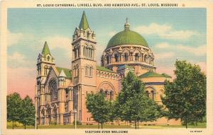 St Louis Missouri~Cathedral Lindell Blvd And Newstead Ave~1932 Postcard