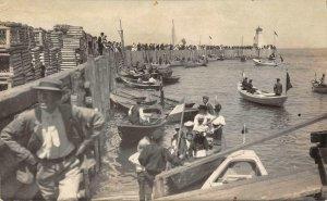 RPPC Dominion Day, Port Maitland, N.S. Canada Lighthouse 1908 Vintage Postcard