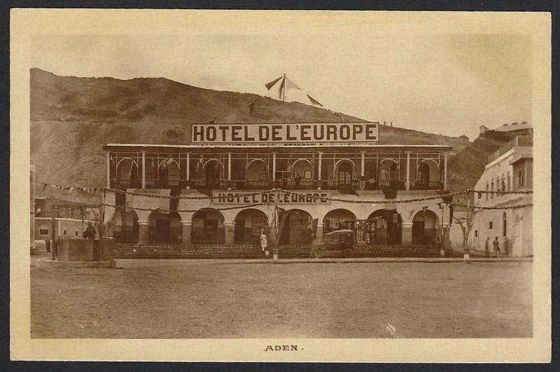 Aden  Hotel De L'Europe real photo postcard by Dinshaw & Co. c.1910