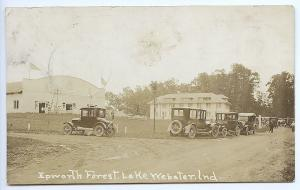 Webster IN Epworth Forest Old Cars 1925 RPPC Real Photo Postcard