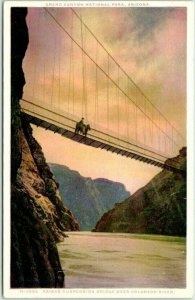 1910s GRAND CANYON Arizona Postcard Kaibab Suspension Bridge FRED HARVEY Unused