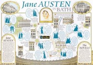 Jane Austen In Bath Giant Rare Postcard