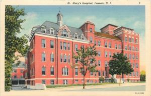 Passaic New Jersey~St Marys Hospital~1940s Linen Postcard