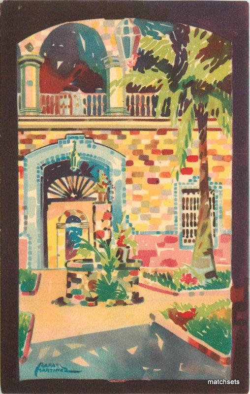 1940s MONTERREY MEXICO Court City Hall Martinez Artist impression postcard 537