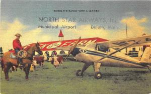 Dallas TX Silvaire Airplane North Star Airways Duluth MN Airport Linen Postcard