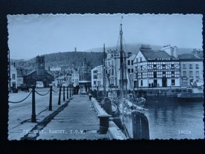 Isle of Man RAMSEY The Quay & The Comercial Hotel c1950's RP Postcard by Salmon