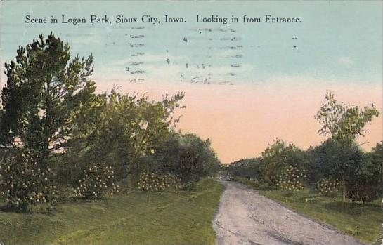 Iowa Sioux City Scene In Logan Park Looking In From Entrance 1913